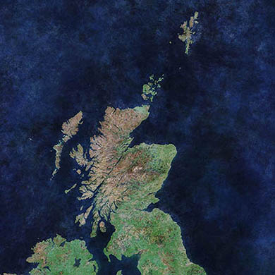 Cloud free image of Scotland